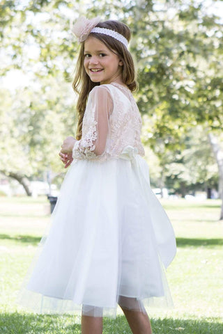 communion dresses Sweet Beaded Long Sleeve Bolero vendor-unknown flower girl dresses