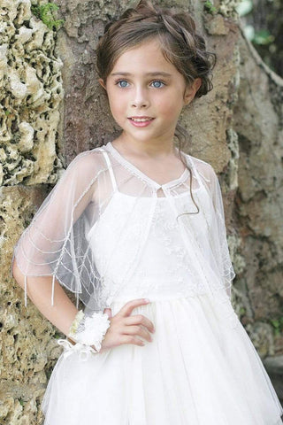 communion dresses Vintage Beaded Cape Petite Adele flower girl dresses