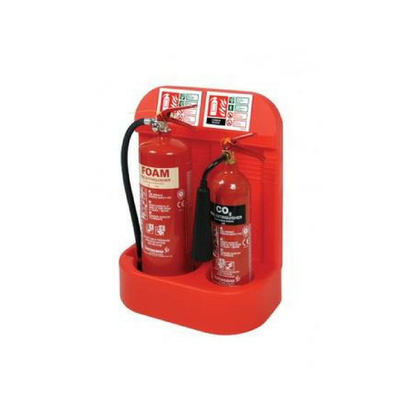 Double Red Extinguisher Stand with Recessed Base