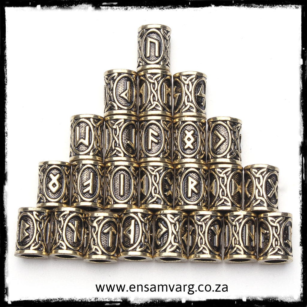 Beard Rings - 24pcs Elder Futhark Rune