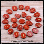 Engraved Natural Red Jasper Rune Set - Elder Futhark