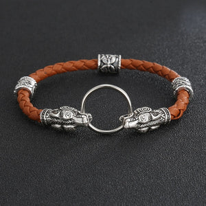 Wolf Head Bracelet - Leather Wristband