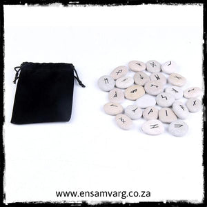 Engraved Natural River Stone Rune Set -  Black Runes (Elder Futhark)