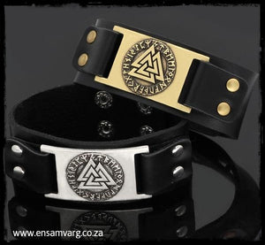 Leather Bracelet Valknut