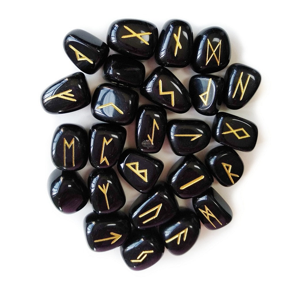 Engraved Natural Tumbled Black Obsidian Rune Stone Set - Elder Futhark (Free Pouch )