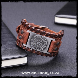 Leather Bracelet - Rune Ring and Vegvisir (Tan)