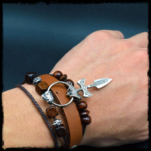 Handmade Leather Bracelet - Viking Sword