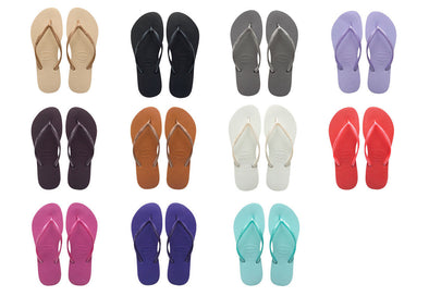 "HAVAIANAS WOMEN'S FLIP FLOPS ""SLIM"" (Choice of 11 colours). UK3 to UK9 from peaknation.co.uk"