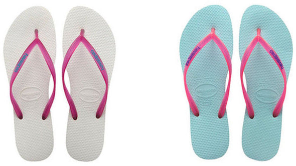 "HAVAIANAS WOMEN'S FLIP FLOPS ""SLIM LOGO"". White or Acqua. UK3 to UK9"