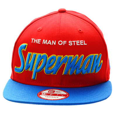 726134add60 NEW ERA - 9FIFTY SNAP BACK CAP. REVERSE HERO WORD SUPERMAN OFFICIAL.