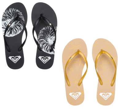 "ROXY ""BERMUDA"" WOMEN'S FLIP FLOPS. Black or Gold (UK4 to8). ARJL100249"
