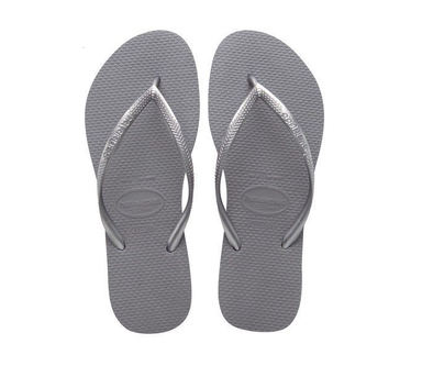 "HAVAIANAS ""SLIM"" WOMEN'S FLIP FLOPS. STEEL GREY UK3 - UK8 from peaknation.co.uk"