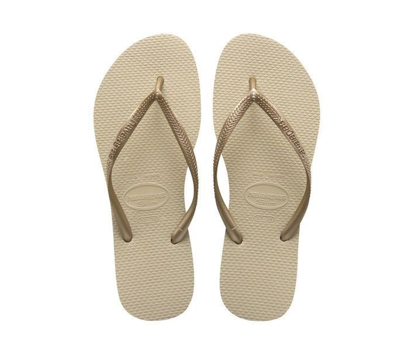 "HAVAIANAS ""SLIM"" WOMEN'S FLIP FLOPS. SAND GREY/LIGHT GOLDEN UK3 - UK8 from peaknation.co.uk"