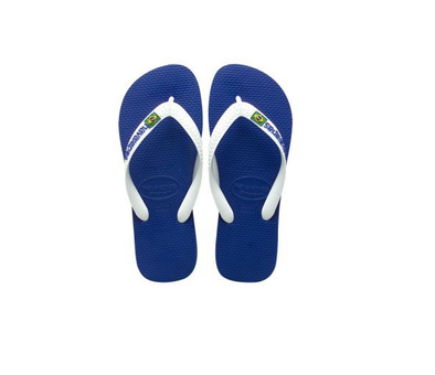 "HAVAIANAS ""BRASIL LOGO"" MEN'S FLIP FLOPS. MARINE BLUE. UK 8-12 from peaknation.co.uk"