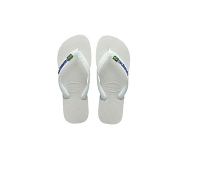 "HAVAIANAS ""BRASIL LOGO"" UNISEX FLIP FLOPS. WHITE. UK CHILD 8 - UK12 from peaknation.co.uk"