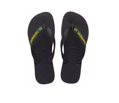 "HAVAIANAS ""BRASIL LOGO"" UNISEX FLIP FLOPS. BLACK. UK CHILD 8 - UK12 from peaknation.co.uk"