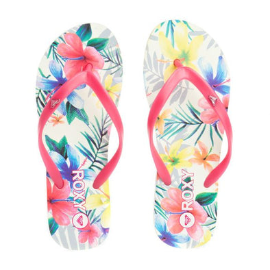 "Roxy Womens Flip Flops ""Bamboo Girl"" (White). UK4 to UK6"
