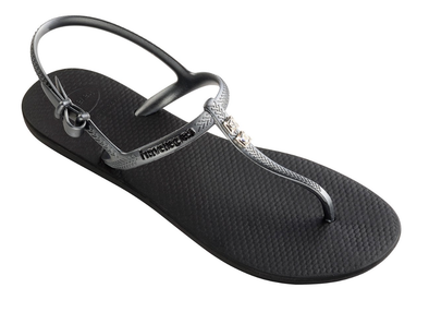 "HAVAIANAS ""FREEDOM CRYSTAL"" WOMEN'S FLIP FLOPS. BACK/GRAPHITE. SWAROVSKI CRYSTALS from peaknation.co.uk"