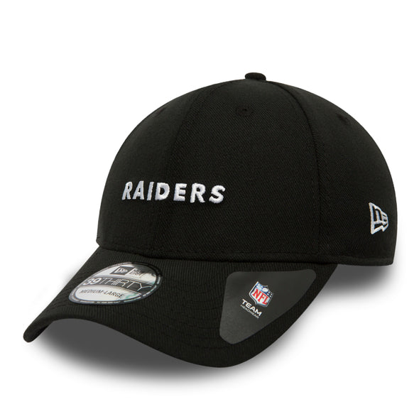 NEW ERA 39THIRTY FITTED CAP. MINI WORDMARK OAKLAND RAIDERS. BLACK from peaknation.co.uk