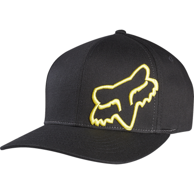 "FOX HEAD ""FLEX 45 FLEXFIT"" MENS CAP. BLACK/YELLOW from peaknation.co.uk"