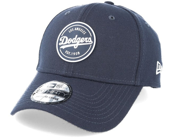 NEW ERA 39THIRTY FITTED CAP. LA DODGERS STRETCH RUBBER EMBLEM. NAVY  from peaknation.co.uk