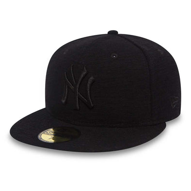 NEW ERA 59FIFTY FITTED CAP. JERSEY SLUB NEW YORK YANKEES. BLACK ON BLACK from peaknation.co.uk