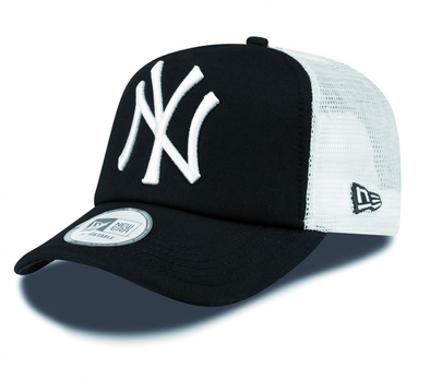 NEW ERA CLEAN TRUCKER CAP. NEW YORK YANKEES. BLACK/WHITE
