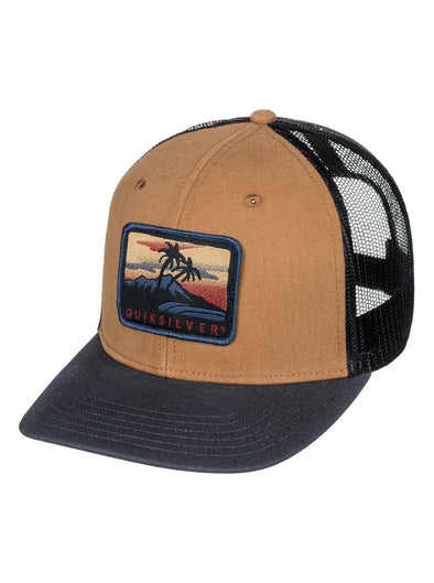 "QUIKSILVER ""BLOCKED OUT"" TRUCKER CAP. WOOD THRUSH (CMF0) from peaknation.co.uk"