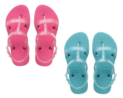 HAVAIANA KIDS JOY SANDALS. BLUE AND PINK from peaknation.co.uk