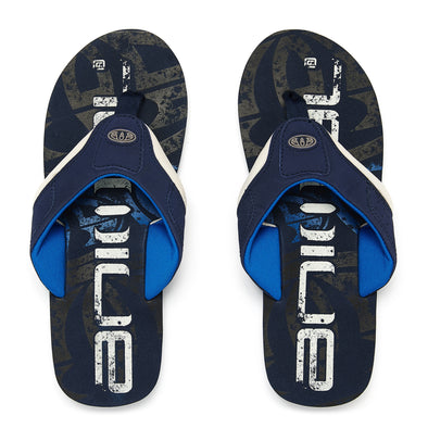 ANIMAL JEKYL LOGO BOYS FLIP FLOPS. SNORKEL BLUE from peaknation.co.uk