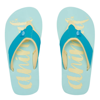 ANIMAL SWISH LOGO GIRLS FLIP FLOPS. MISTY GREEN from peaknation.co.uk