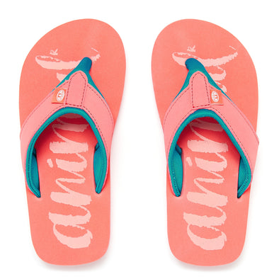 ANIMAL SWISH LOGO GIRLS FLIP FLOPS. SUNKISSED ORANGE from peaknation.co.uk