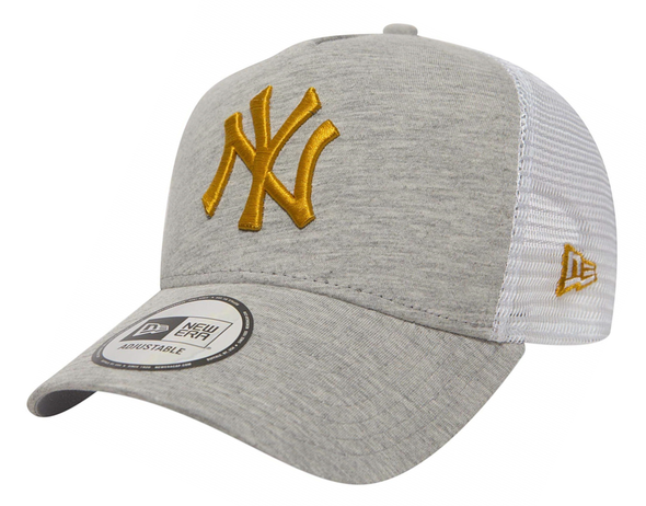 NEW ERA ADJUSTABLE A FRAME TRUCKER. NEW YORK YANKEES. LIGHT GREY/GOLD from peaknation.co.uk