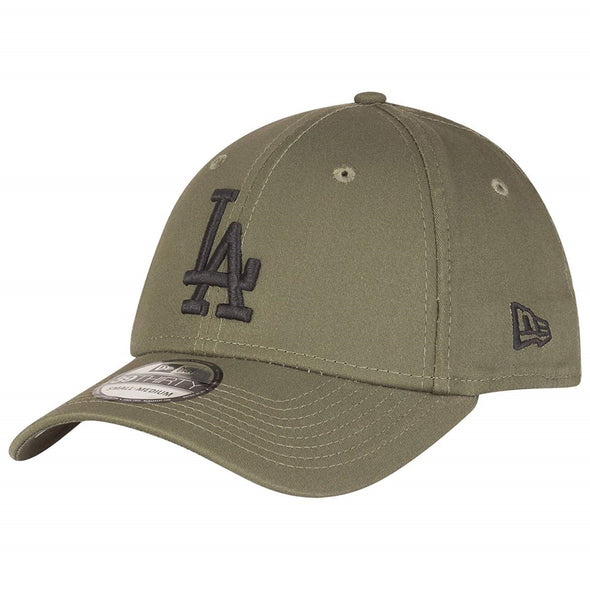 NEW ERA 39THIRTY FITTED CAP. LEAGUE ESSENTIAL LA DODGERS. OLIVE GREEN from peaknation.co.uk