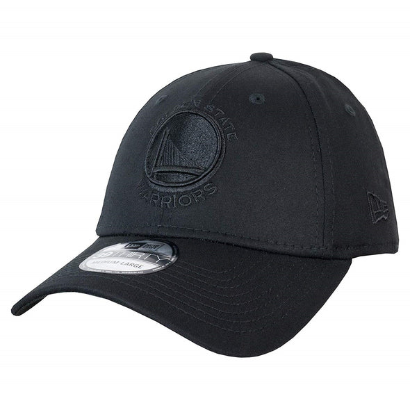 NEW ERA 39THIRTY FITTED CAP. BLACK ON BLACK GOLDEN STATE WARRIORS from peaknation.co.uk