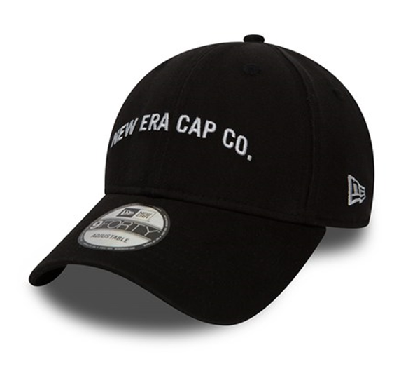NEW ERA 9FORTY STRAPBACK CAP. NEW ERA SCRIPT. BLACK from peaknation.co.uk