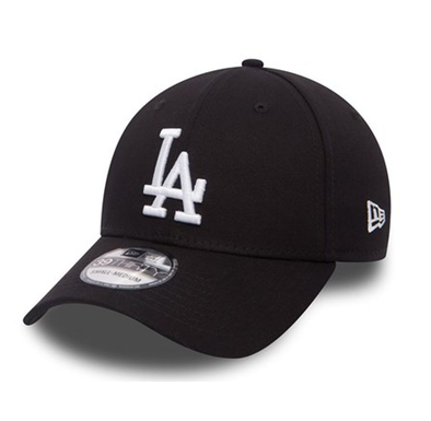 NEW ERA 39THIRTY FITTED CAP. LEAGUE ESSENTIAL LA DODGERS. BLACK/WHITE from peaknation.co.uk