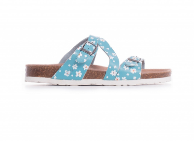 "BRAKEBURN ""DITSY DAISY"" WOMENS SANDALS. BLUE"