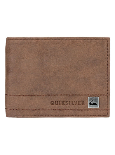 QUIKSILVER STITCHY WALLET. MENS BI-FOLD WALLET. CHOCOLATE from peaknation.co.uk
