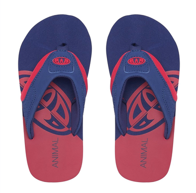 ANIMAL BOYS JEKYL SLICE FLIP FLOPS. TOMATO RED from peaknation.co.uk