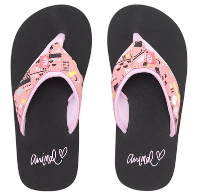 ANIMAL GIRLS SWISH UPPER AOP FLIP FLOPS. PARADISE PINK from peaknation.co.uk