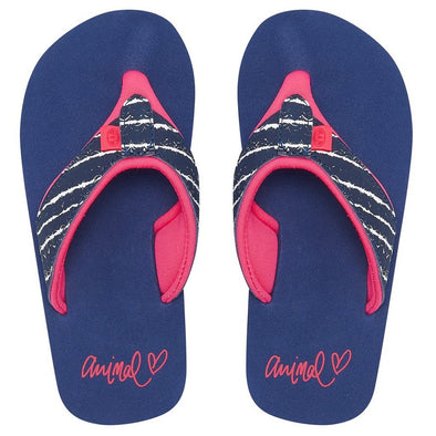 ANIMAL SWISH UPPER AOP GIRLS FLIP FLOPS. PATRIOT BLUE from peaknation.co.uk