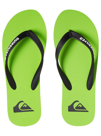 "MENS QUIKSILVER ""MOLOKAI"" FLIP FLOPS. BLACK/GREEN/BLACK from peaknation.co.uk"