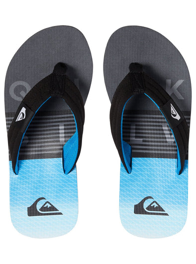 "BOYS QUIKSILVER ""MOLOKAI LAYBACK"" FLIP FLOPS. BLACK/GREY/BLUE (xksb) from peaknation.co.uk"