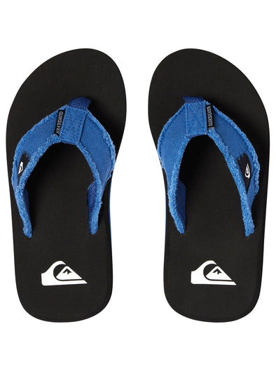 "BOYS QUIKSILVER ""MONKEY ABYSS"" FLIP FLOPS. BLUE/BLACK/BLUE (xbkb) from peaknation.co.uk"