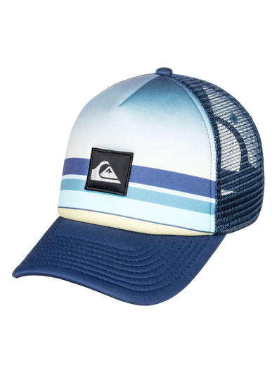 "BOYS QUIKSILVER ""SETS COMING"" TRUCKER CAP. MEDIEVAL BLUE (bte0)"