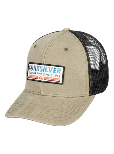 "MENS QUIKSILVER ""RIG TENDER"" TRUCKER CAP. THYME (cqy0) from peaknation.co.uk"