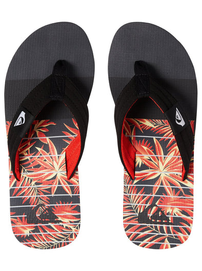 "QUIKSILVER ""MOLOKAI LAYBACK"" MENS FLIP FLOPS. BLACK/BLACK/YELLOW from peaknation.co.uk"