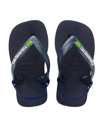 HAVAIANAS BABY BRASIL LOGO SANDALS. NAVY BLUE/CITRUS YELLOW from peaknation.co.uk