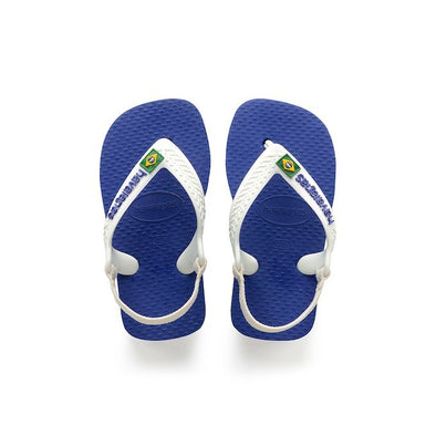 HAVAIANAS BABY BRASIL LOGO SANDALS. MARINE BLUE from peaknation.co.uk